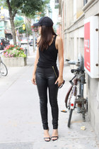 leather danier pants - baseball H&M hat - leather Zara sandals - Zara top