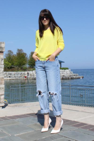 Line Knitwear sweater - thrifted jeans - silver heel Aldo pumps