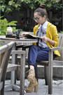 Mustard-thrifted-blazer-navy-mango-pants-tan-parisian-shoes
