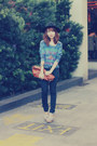 Black-jeans-black-forever-21-hat-blue-forever-21-shirt-brown-purse