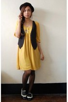 mustard Tomato dress - white Parisian shoes - black thrifted vest