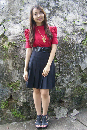 red Kisses &amp; Co blouse - black thrifted skirt - black Parisian shoes - black ran