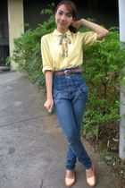 yellow thirfted shirt - Topshop jeans - orange Secondhand shoes - brown thirfted