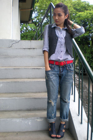 white Topshop shirt - black thrifted vest - from hongkong jeans - blue Parisian 