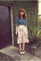 skirt - blue denim shirt - black purse - beige clogs