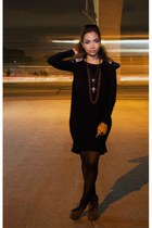 black Simones Closet dress - gray Parisian boots - Forever 21 necklace