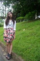 club monaco button-down shirt - glitterati floral skirt - SM Dept Store shoes -