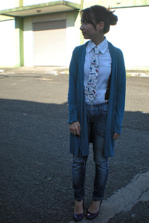 white Kisses & Co shirt - blue get laud cardigan - thrifted jeans - white from b