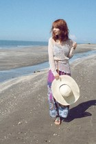 Gibi sandals - purple maxi dress - cream H&M hat - off white crochet top
