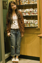 brown vintage cardigan - white Bayo top - from hongkong jeans - white vintage sh