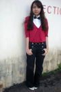 White-kisses-co-shirt-red-thrifted-cardigan-blue-topshop-pants-white-thr