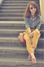 Mustard-pants-blue-denim-giordano-shirt-brown-hebe-manila-flats-necklace