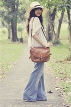 wide-leg Topshop jeans - beige H&M hat - brown thrifted bag