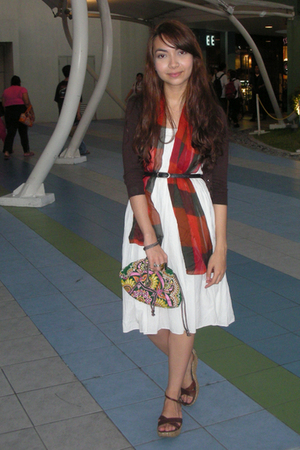 white thrifted dress - brown Zara cardigan - orange moms scarf - brown thrifted