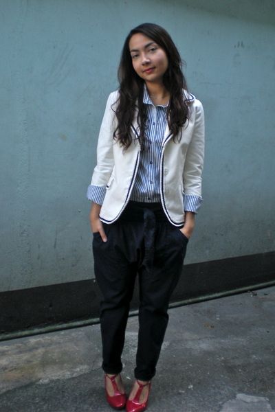 white Topshop shirt - blue Mango pants - white thrifted blazer - red Fiorucci sh