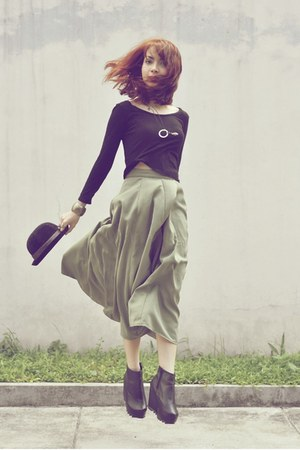 olive green skirt - black AsianVogue boots - black bowler hat