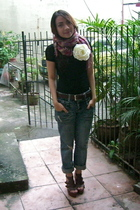 freeway lace top - from hongkong boyfriend jeans - gap plaid scarf - aldo flower