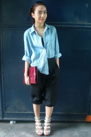 blue thrifted shirt - black thrifted pants - beige michael antonio shoes - red v