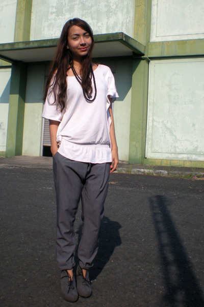 white From Bazaar top - gray soiree pants - gray Parisian boots - black random a