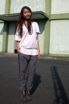 white From Bazaar top - gray soiree pants - gray Parisian boots - black random a