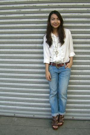 vintage ruffled shirt - random jeans - thrifted belt - SM Dept Store shoes - baz