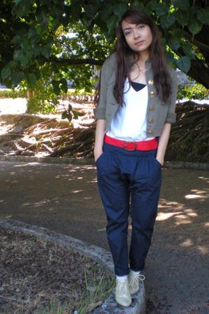 green EDC jacket - blue Mango pants - white Herbench t-shirt - red thrifted belt