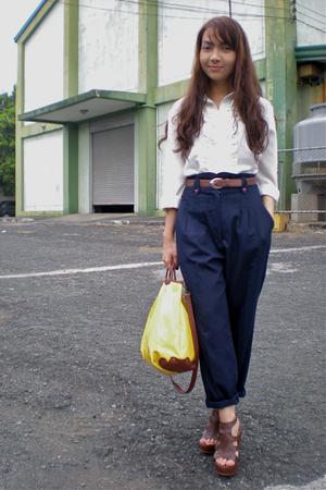 white vintage blouse - blue vintage pants - brown thrifted belt - brown Parisian