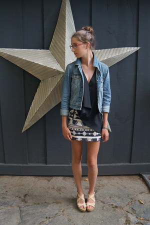 nude flatform joe fresh style wedges - sky blue denim American Eagle jacket