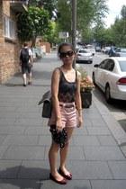 shorts - sunglasses - belt - bodysuit - cardigan - flats