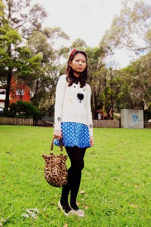 dress - sweater - tights - bag - accessories - flats