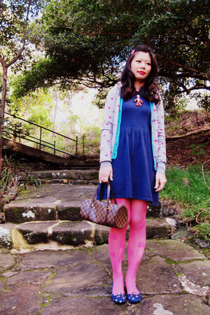 asos dress - House of Holland for Pretty Polly tights - Louis Vuitton bag - Sire