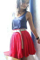red Forever 21 skirt - blue Forever 21 top