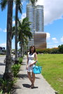 White-pink-manila-dress-turquoise-blue-longchamp-bag