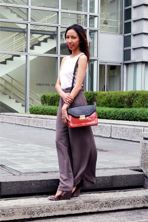 Charles & Keith bag - Forever New pants - Charles & Keith wedges - H&M top