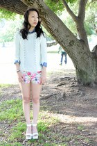 ivory knit Pink Basis sweater - bubble gum Pink Basis shorts - blue denim top