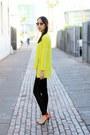Yellow-choies-sweater-black-ray-ban-sunglasses-black-unknown-pants