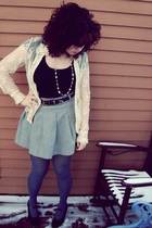 blue tights - silver H&M skirt - blue belt - black top - beige cardigan