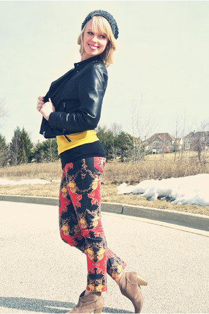 Charlotte Russe boots - faux bomber H&M jacket - printed Target pants