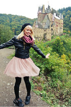 black studs Charlotte Russe boots - pink H&M jacket
