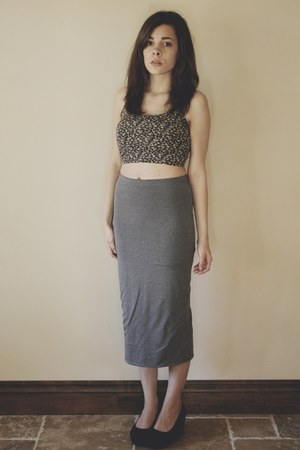 heather gray maxi Topshop skirt - black H&M wedges