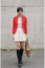 Off-white-forever-21-dress-red-h-m-blazer-black-soxxy-socks