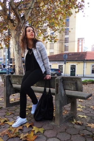 black Zara leggings - Pimkie jacket - black Bershka shirt - black Bershka bag
