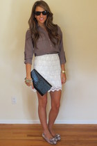 lace Zara skirt - YSL bag - Ray Ban sunglasses - snakeskin Prada flats