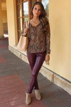 snake Zara blouse - tan Zara boots - eggshell Chanel bag
