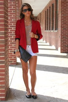 red Aqua blazer - tan Bebe shirt - white denim Siwy shorts - black Prada flats