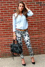 Denim-urban-outfitters-shirt-balenciaga-bag-hermes-belt-floral-zara-pants