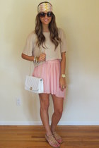 headband Missoni hat - H&M shirt - white Chanel bag - pleated skirt Zara skirt