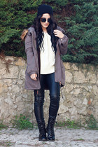 oNecklace necklace - Chicwish boots - obeyclothing jacket - Udobuy sweater