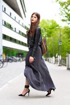 charcoal gray maxi skirt - black leather warehouse jacket - black Nicholas heels