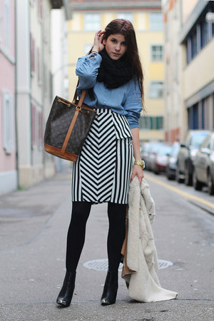 striped AX Paris skirt - black toe cap H&amp;M boots - camel cozy jacket